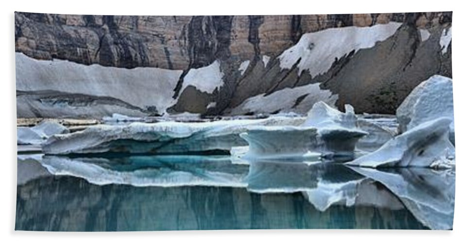 Gacier Iceberg Lake Hand Towel featuring the photograph Iceberg Lake Icebergs by Adam Jewell