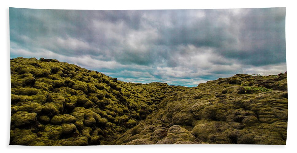 Landscape Bath Towel featuring the photograph Iceland Moss And Clouds by Venetia Featherstone-Witty