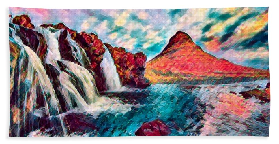Abstract Bath Towel featuring the photograph Iceland Waterfalls by Robert Kinser