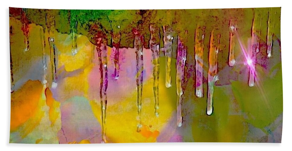 Icecicles Hand Towel featuring the photograph Icicicle Kalidescope by Ellen Cannon