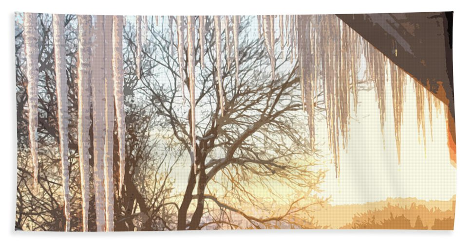 Icicles Hand Towel featuring the photograph Icicles One by Ian MacDonald