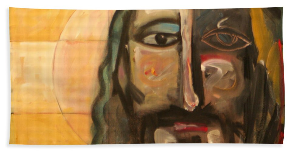 Christ Bath Sheet featuring the painting Icon Number Four by Tim Nyberg
