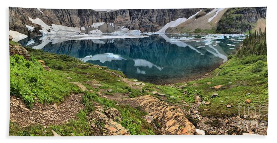 Iceberg Lake Glacier Bath Sheet featuring the photograph Icy Blue And Lush Green by Adam Jewell