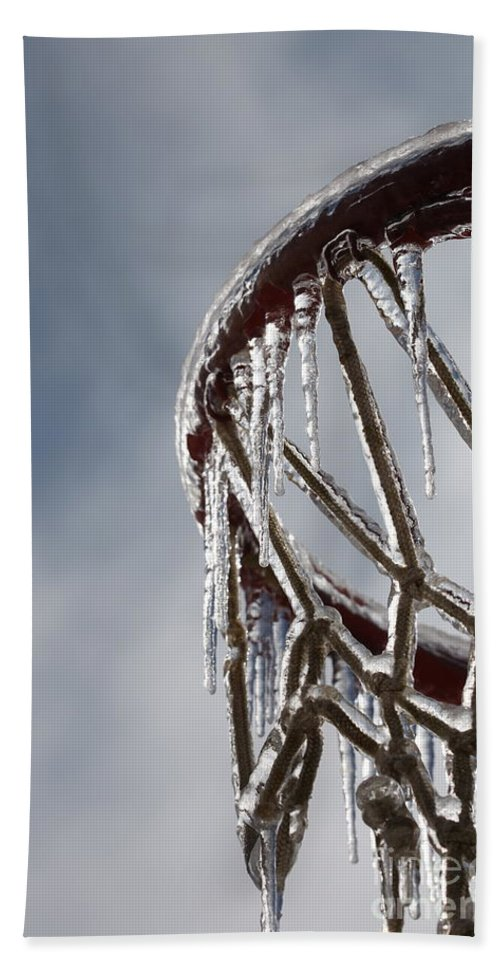 Basketball Bath Towel featuring the photograph Icy Hoops by Nadine Rippelmeyer