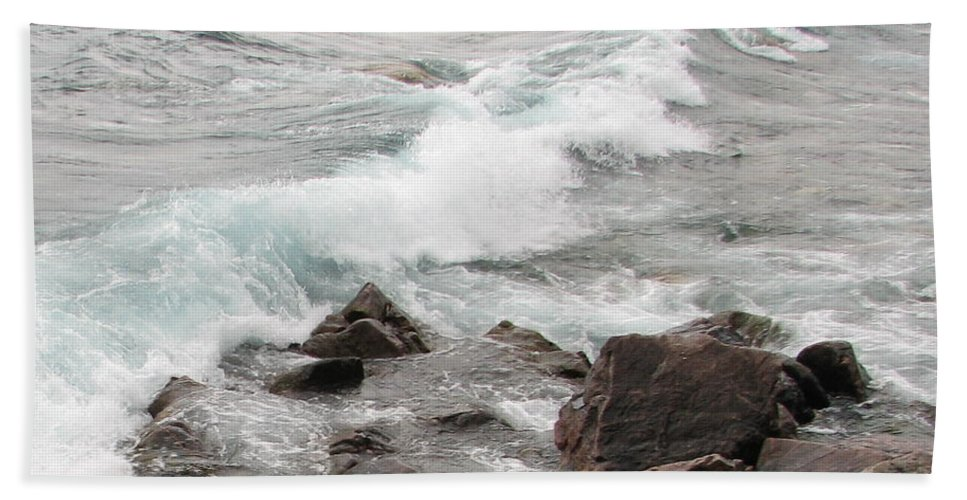 Wave Bath Sheet featuring the photograph Icy Waves by Kelly Mezzapelle