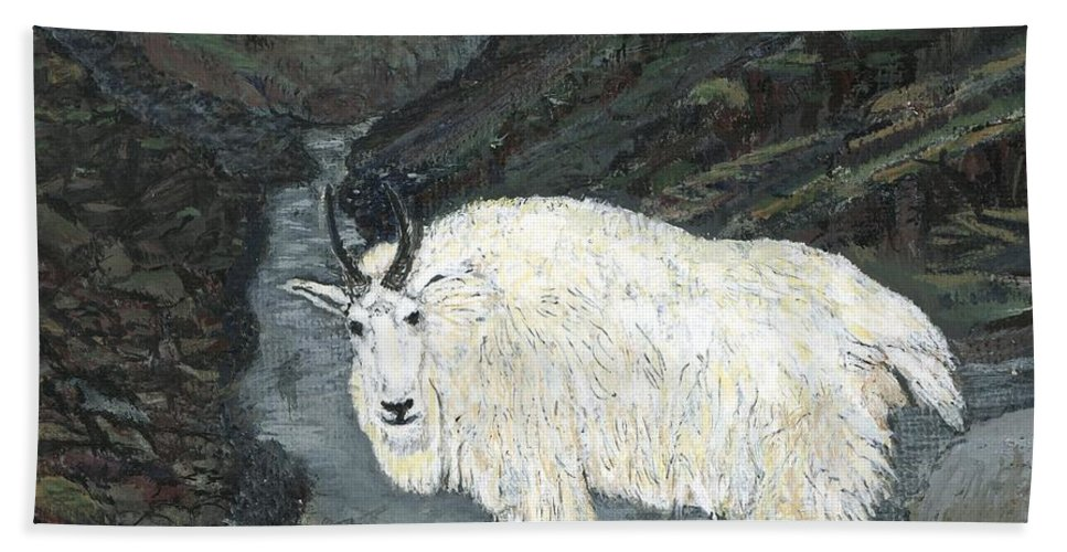 Idaho Hand Towel featuring the painting Idaho Mountain Goat by Sara Stevenson