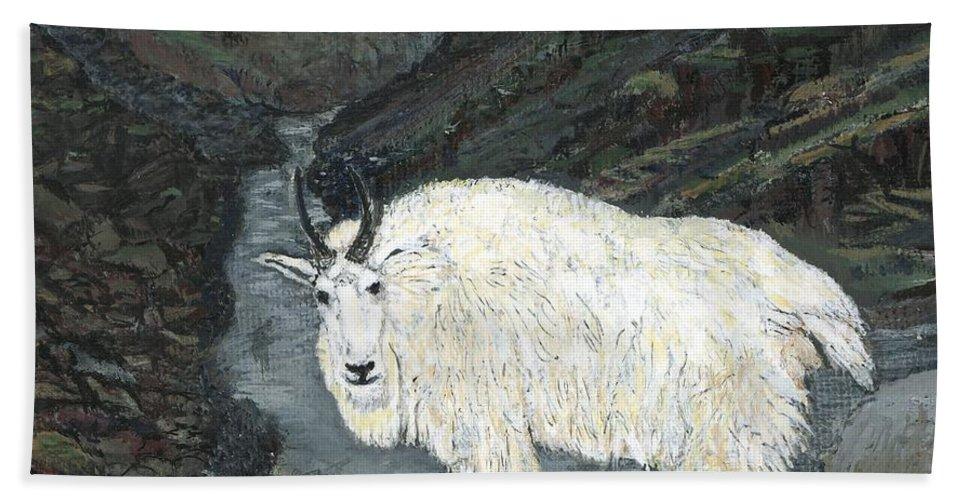 Idaho Bath Sheet featuring the painting Idaho Mountain Goat by Sara Stevenson