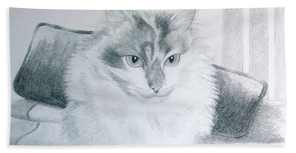 Cat Bath Sheet featuring the drawing Idget by Joette Snyder