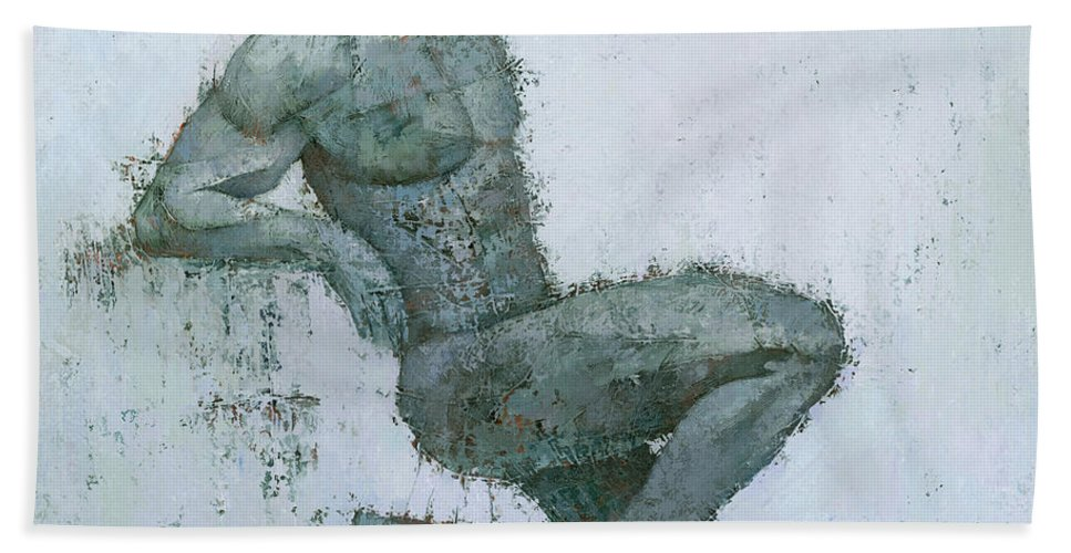 Figurative Original Art Painting Mixed Media Texture Male Man Modern White Grey Hand Towel featuring the painting Idrium by Steve Mitchell