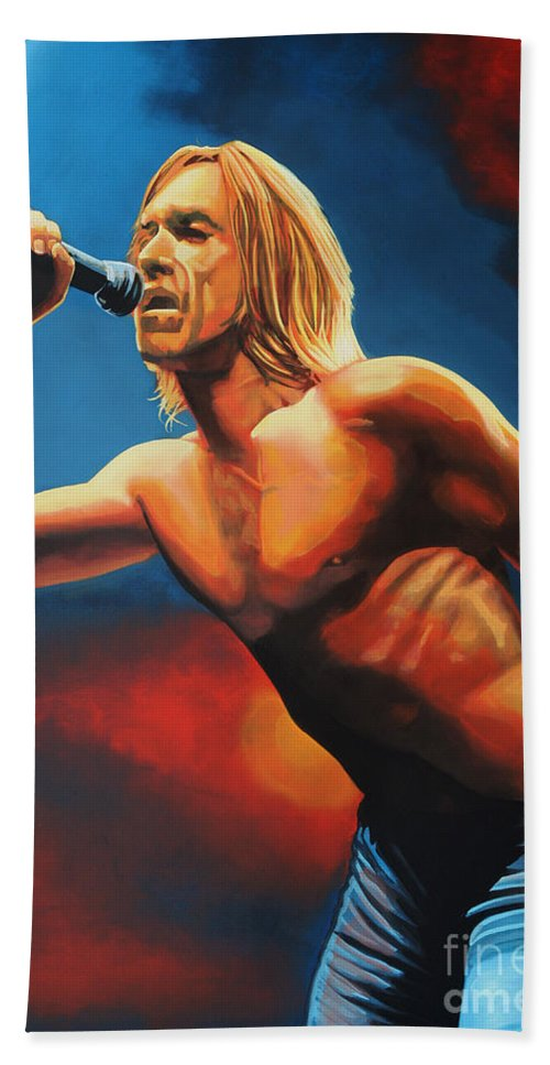 Iggy Pop Hand Towel featuring the painting Iggy Pop Painting by Paul Meijering