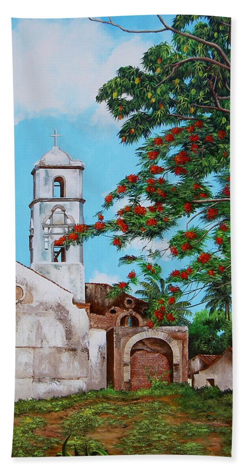 Cuban Painter Hand Towel featuring the painting Iglesia De Santa Anna by Dominica Alcantara