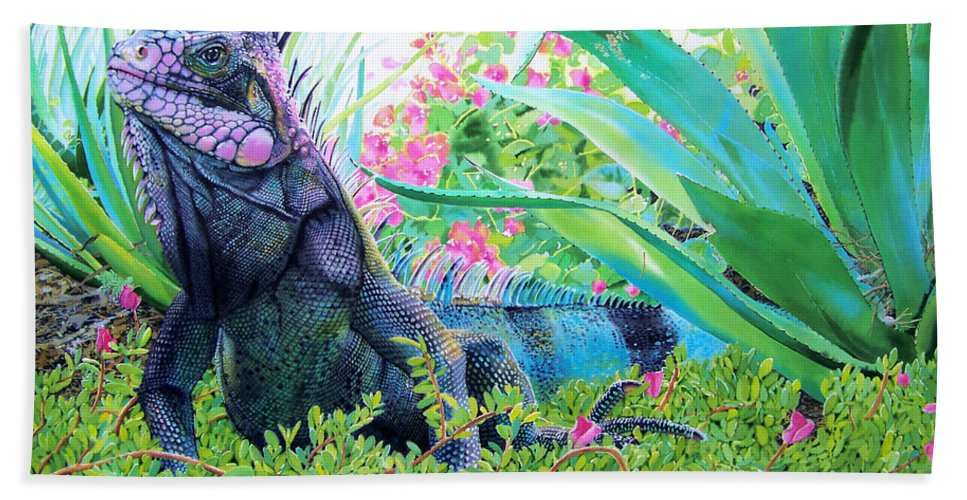 Lizard Hand Towel featuring the painting Iguana by Denny Bond