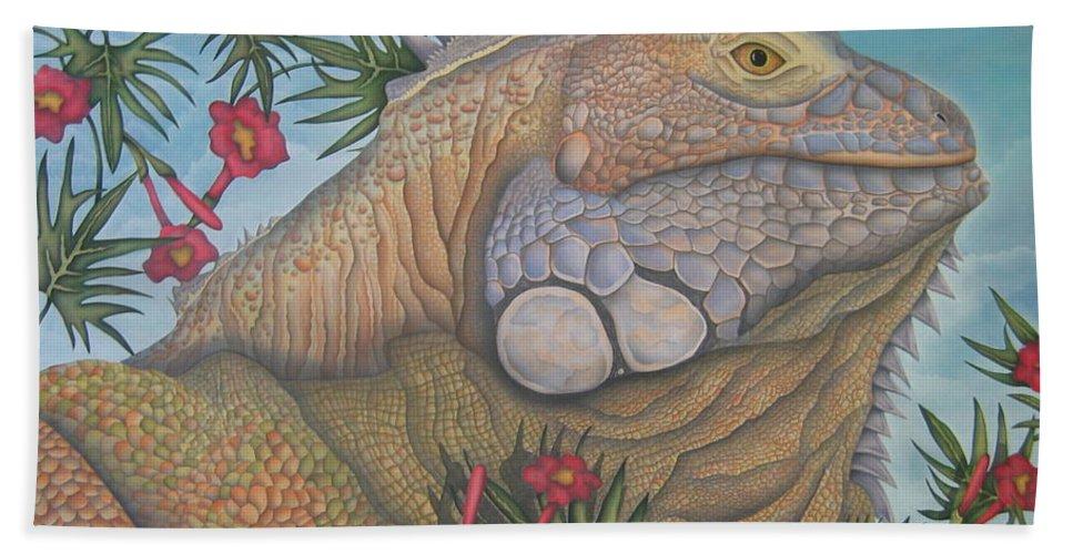 Lizard Bath Sheet featuring the painting Iguana Iguana by Jeniffer Stapher-Thomas