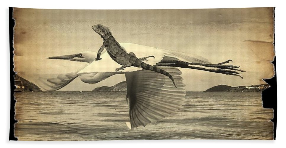 Lizard Hand Towel featuring the photograph Iguana With Wings by Janal Koenig