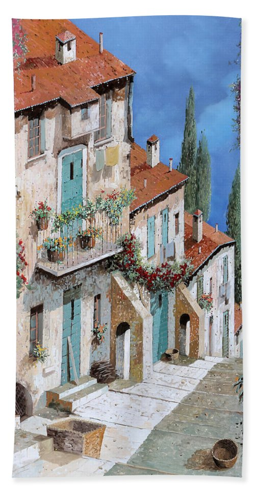 Balcony Bath Towel featuring the painting Il Balcone Fiorito by Guido Borelli