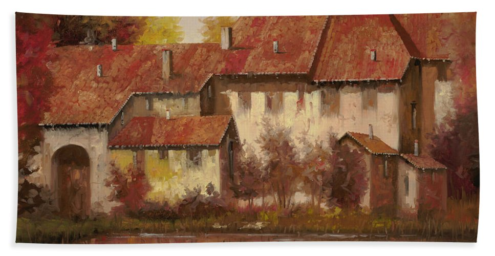 Landscape Bath Sheet featuring the painting Il Borgo Rosso by Guido Borelli
