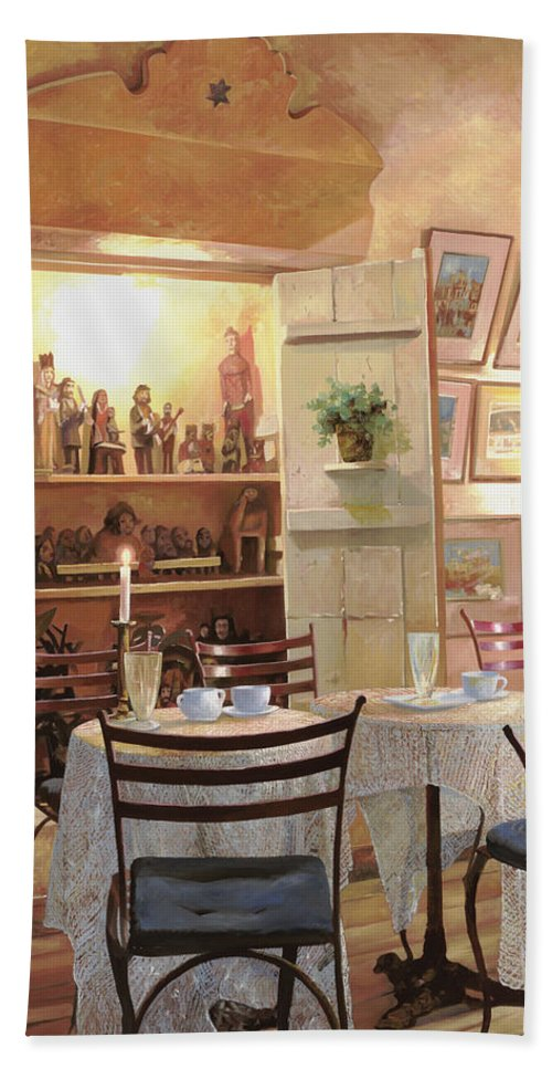 Cafe Hand Towel featuring the painting Il Caffe Dell'armadio by Guido Borelli