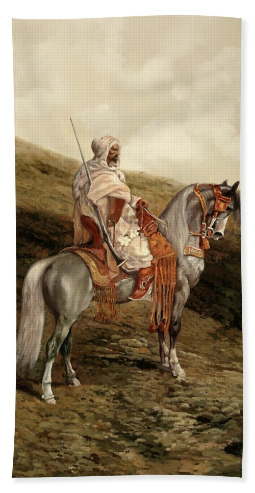 Knight Bath Towel featuring the painting Il Cavaliere by Guido Borelli