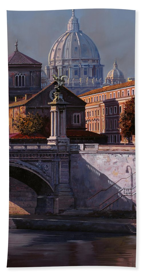 Rome Bath Sheet featuring the painting Il Cupolone by Guido Borelli