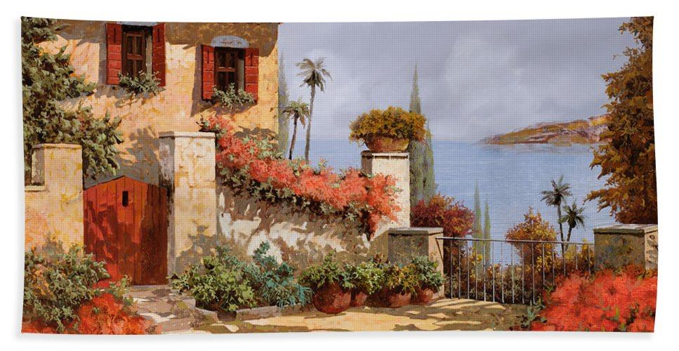 Red House Bath Towel featuring the painting Il Giardino Rosso by Guido Borelli