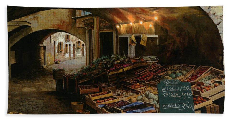Market Bath Sheet featuring the painting Il Mercato Francese by Guido Borelli