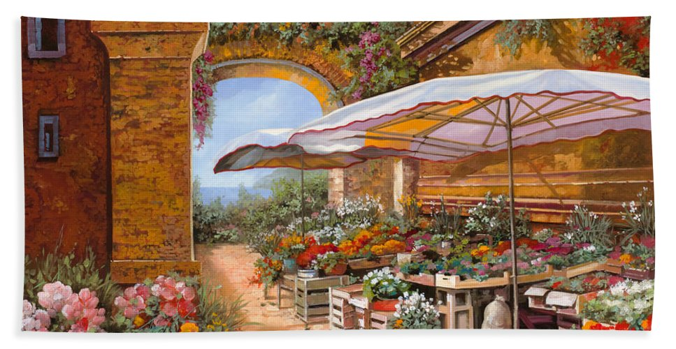 Market Bath Sheet featuring the painting Il Mercato Sotto I Portici by Guido Borelli