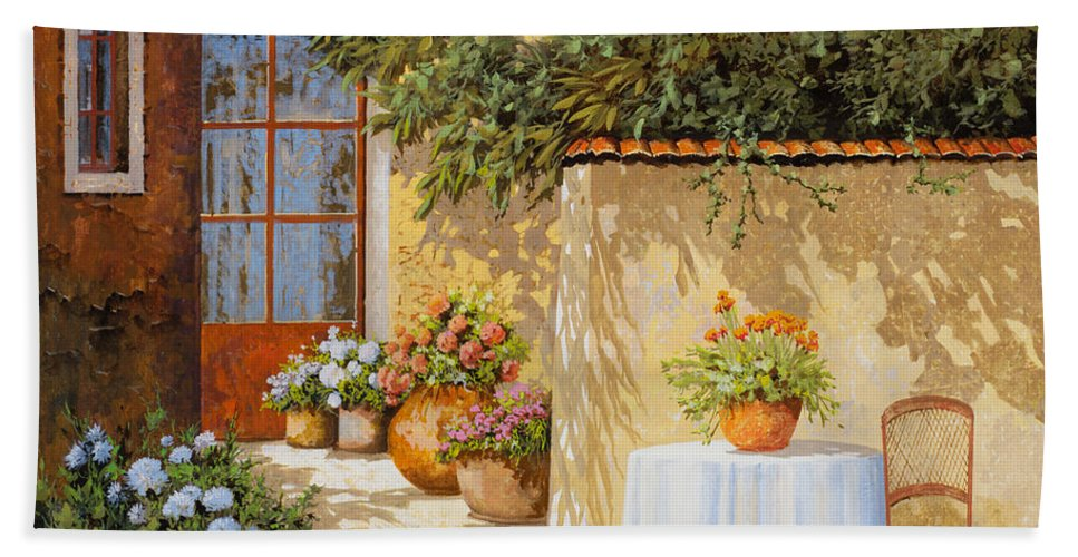 Streetscene Hand Towel featuring the painting Il Muretto E Il Tavolo by Guido Borelli
