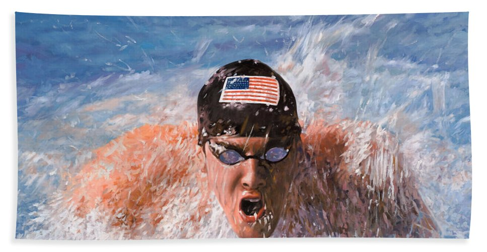 Swim Hand Towel featuring the painting Il Nuotatore by Guido Borelli