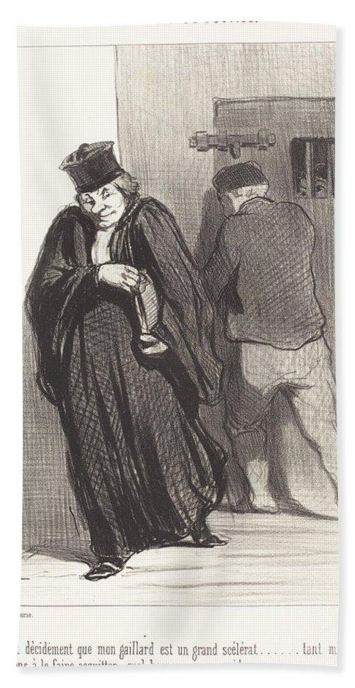 Hand Towel featuring the drawing Il Parait... Que Mon Gaillard Est Un Grand Sc?l?rat... by Honor? Daumier