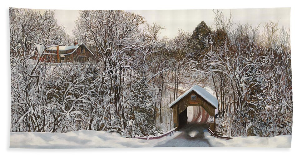 Stowe Bath Sheet featuring the painting Il Ponte Coperto Di Legno by Guido Borelli