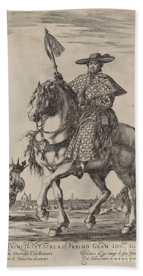 Hand Towel featuring the drawing Il Tedeschino by Stefano Della Bella