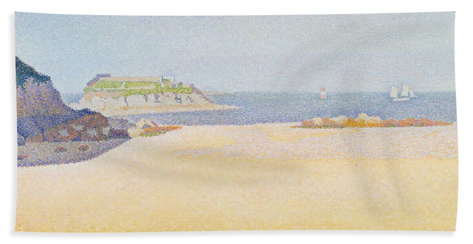 Beach Hand Towel featuring the painting Ile La Comtesse, Pontrieux by Paul Signac