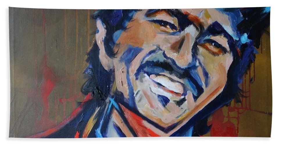John Prine Bath Towel featuring the painting Illegal Smile by Eric Dee