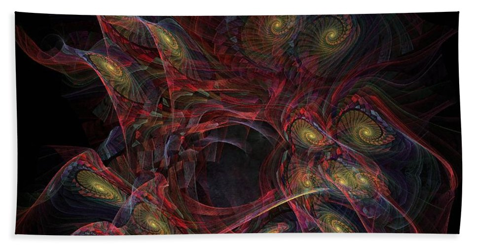 Illusion Bath Sheet featuring the digital art Illusion And Chance - Fractal Art by NirvanaBlues