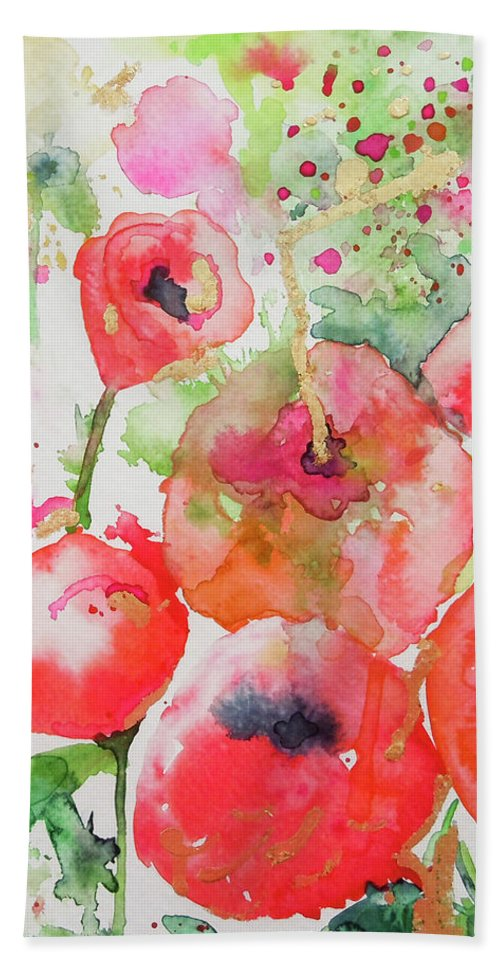 Poppies Bath Sheet featuring the painting Illusions Of Poppies by Roleen Senic