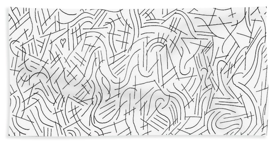 Pen Bath Sheet featuring the drawing Illusory by Steven Natanson