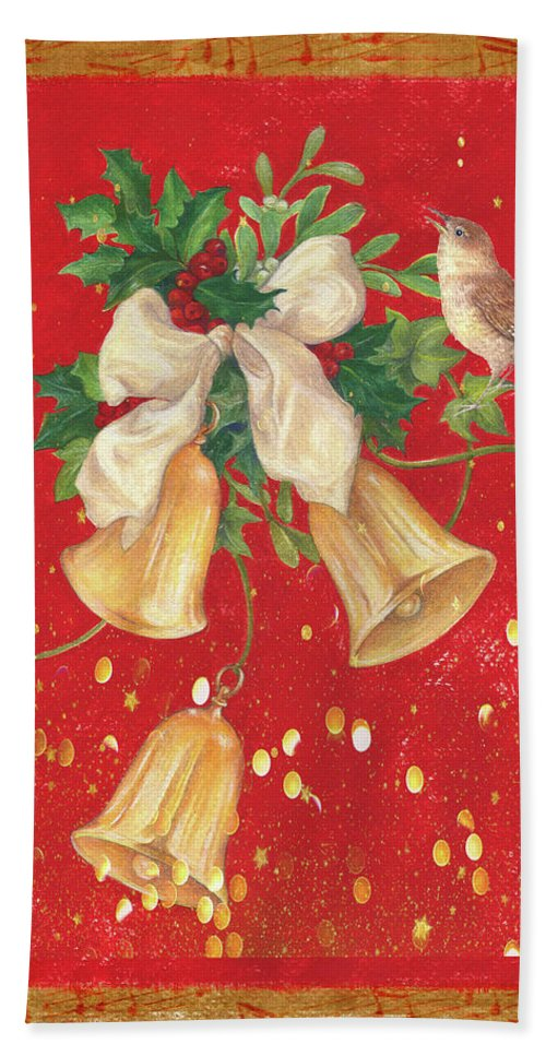 Bells Are Chiming Bath Sheet featuring the painting Illustrated Holly, Bells With Birdie by Judith Cheng