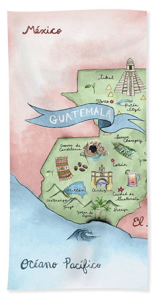 Illustrated Map Of Guatemala Bath Towel on bed map, bedroom map, portico map, exterior map, basement map, newfoundland and labrador map, security map, cafeteria map, secret passage map, fallout shelter map,