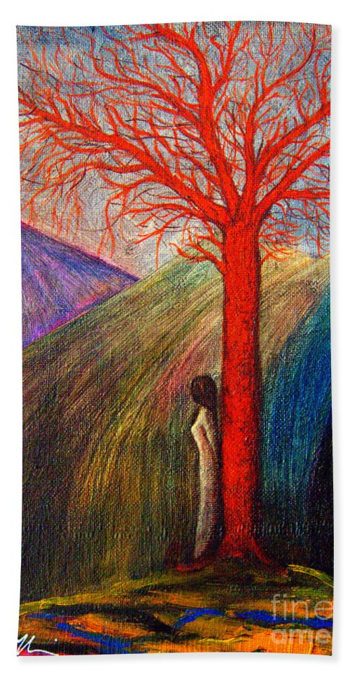 Woman Hand Towel featuring the painting I'm Not Alone by Riccardo Maffioli