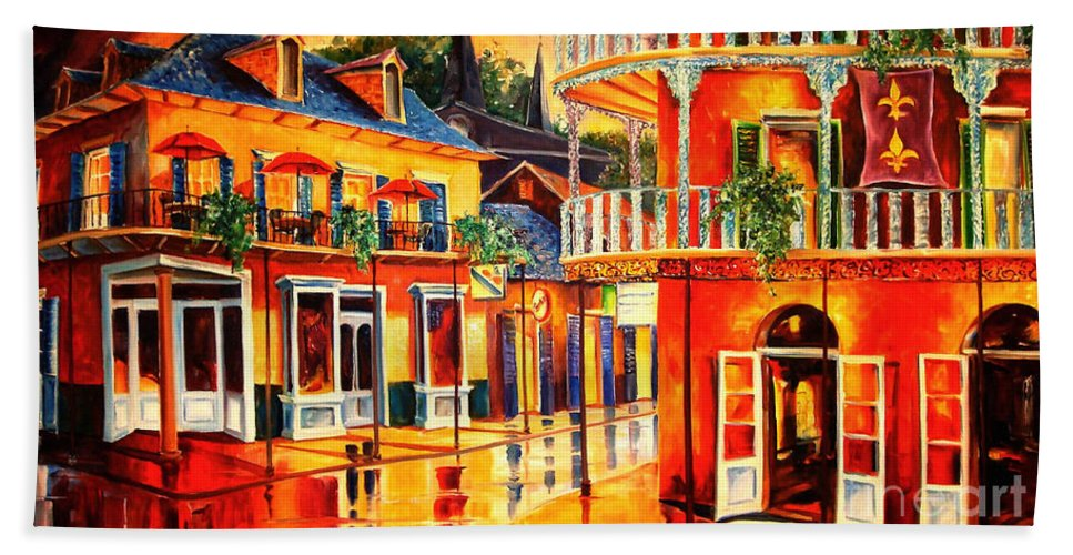 New Orleans Hand Towel featuring the painting Images Of The French Quarter by Diane Millsap