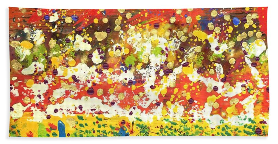 Wood Hand Towel featuring the mixed media Imagine Happiness by Angela L Walker