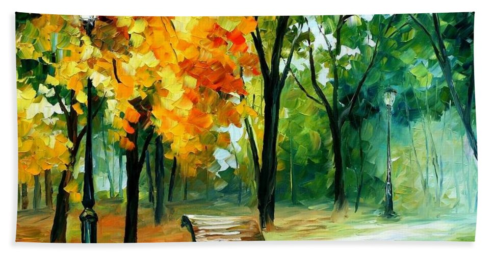 Afremov Bath Sheet featuring the painting Imaginings by Leonid Afremov