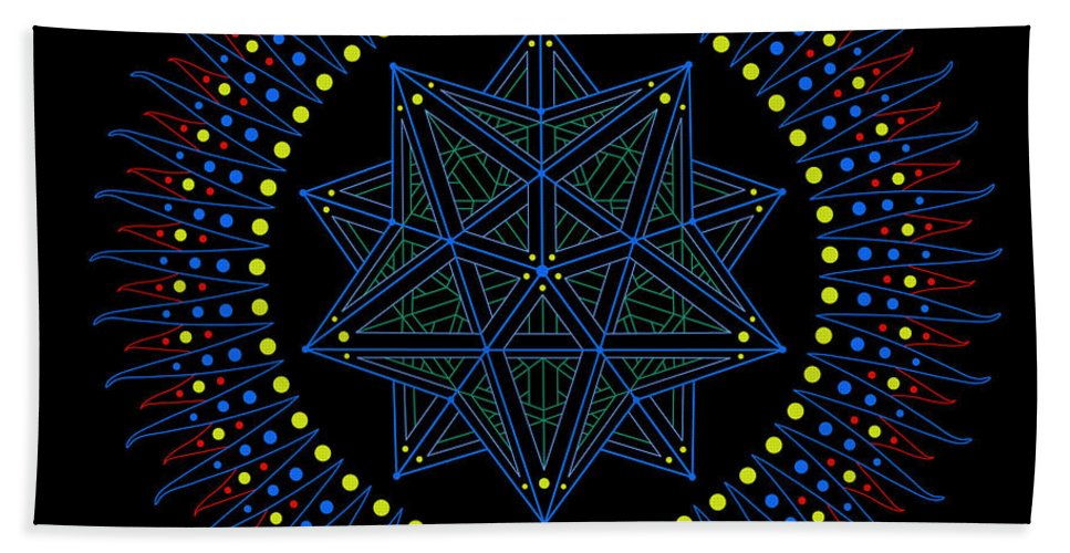 Sacred Geometry Bath Sheet featuring the digital art Immediacy. Captured. by Mark Golding