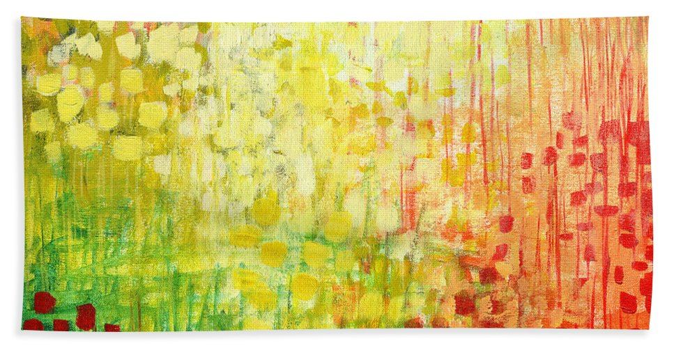 Abstract Bath Towel featuring the painting Immersed No 2 by Jennifer Lommers