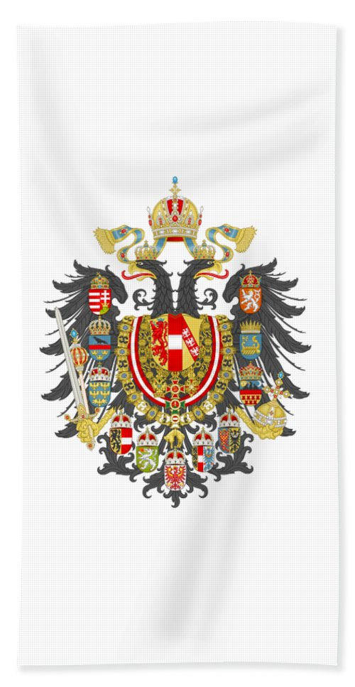 Flag Hand Towel featuring the digital art Imperial Coat Of Arms Of The Empire Of Austria-hungary Transparent by Sodacan