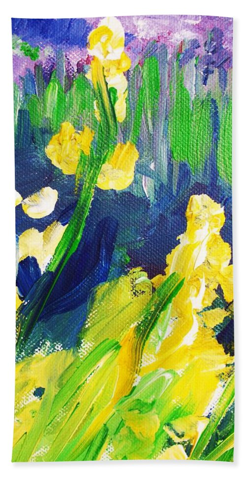 Impressionism Hand Towel featuring the painting Impression Flowers by Eric Schiabor