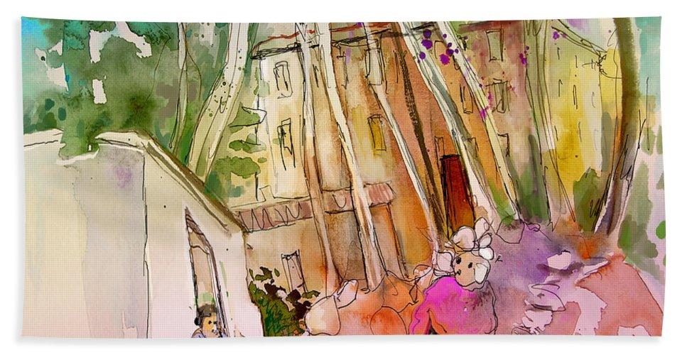 Capileira Hand Towel featuring the painting Impression Of Capileira 01 by Miki De Goodaboom