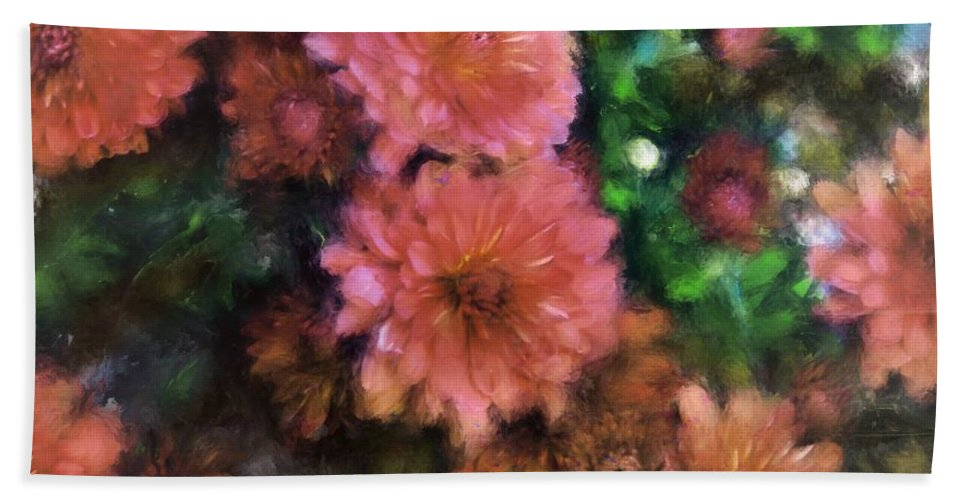 Mums Hand Towel featuring the painting Bronze And Pink Mums by Sand And Chi
