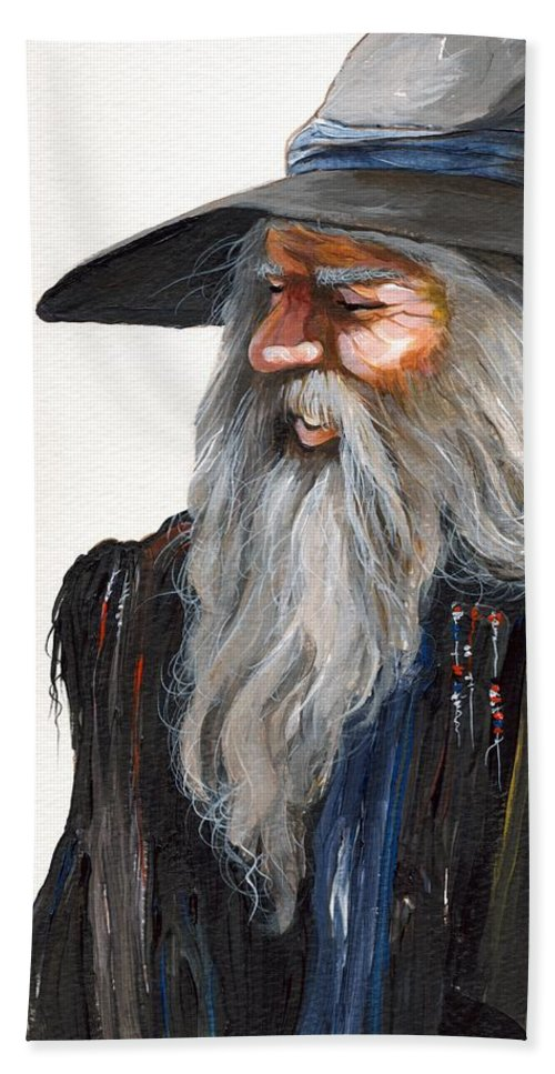 Fantasy Art Bath Sheet featuring the painting Impressionist Wizard by J W Baker