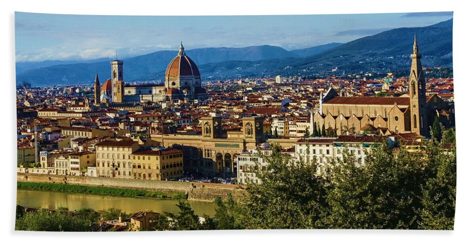 Georgia Mizuleva Hand Towel featuring the digital art Impressions Of Florence - A View From The Top by Georgia Mizuleva